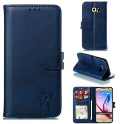 Embossing Happy Cat Leather Wallet Case for Samsung Galaxy S6 G920 - Blue