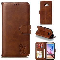 Embossing Happy Cat Leather Wallet Case for Samsung Galaxy S6 G920 - Brown