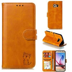 Embossing Happy Cat Leather Wallet Case for Samsung Galaxy S6 G920 - Yellow