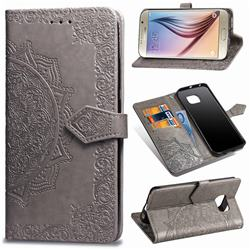 Embossing Imprint Mandala Flower Leather Wallet Case for Samsung Galaxy S6 G920 - Gray
