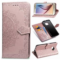 Embossing Imprint Mandala Flower Leather Wallet Case for Samsung Galaxy S6 G920 - Rose Gold