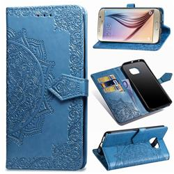Embossing Imprint Mandala Flower Leather Wallet Case for Samsung Galaxy S6 G920 - Blue