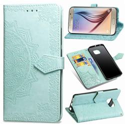 Embossing Imprint Mandala Flower Leather Wallet Case for Samsung Galaxy S6 G920 - Green