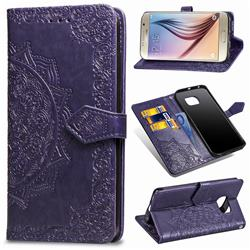 Embossing Imprint Mandala Flower Leather Wallet Case for Samsung Galaxy S6 G920 - Purple