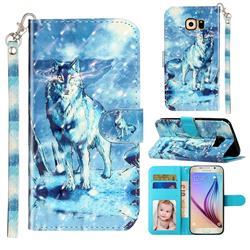 Snow Wolf 3D Leather Phone Holster Wallet Case for Samsung Galaxy S6 G920