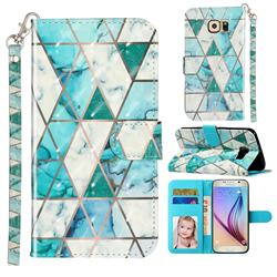 Stitching Marble 3D Leather Phone Holster Wallet Case for Samsung Galaxy S6 G920