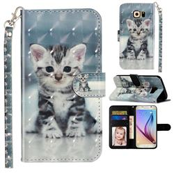Kitten Cat 3D Leather Phone Holster Wallet Case for Samsung Galaxy S6 G920