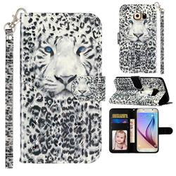 White Leopard 3D Leather Phone Holster Wallet Case for Samsung Galaxy S6 G920