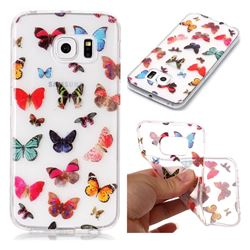 Colorful Butterfly Super Clear Soft TPU Back Cover for Samsung Galaxy S6 Edge G925