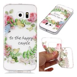 Green Leaf Rose Super Clear Soft TPU Back Cover for Samsung Galaxy S6 Edge G925
