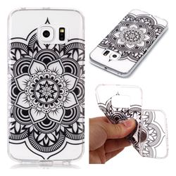 Black Mandala Flower Super Clear Soft TPU Back Cover for Samsung Galaxy S6 Edge G925