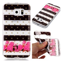 Striped Flowers Super Clear Soft TPU Back Cover for Samsung Galaxy S6 Edge G925