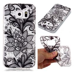 Black Rose Super Clear Soft TPU Back Cover for Samsung Galaxy S6 Edge G925