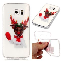Red Gloves Elk Super Clear Soft TPU Back Cover for Samsung Galaxy S6 Edge G925