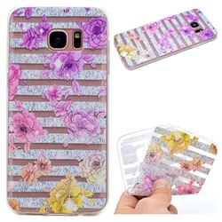 Striped Roses Super Clear Soft TPU Back Cover for Samsung Galaxy S6 Edge G925