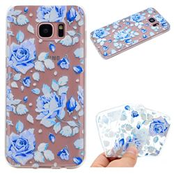 Ice Rose Super Clear Soft TPU Back Cover for Samsung Galaxy S6 Edge G925