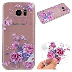 Peony Super Clear Soft TPU Back Cover for Samsung Galaxy S6 Edge G925