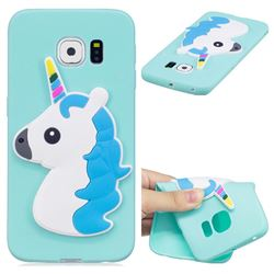 Blue Hair Unicorn Soft 3D Silicone Case for Samsung Galaxy S6 Edge G925