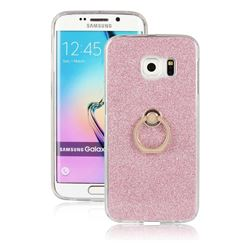 Luxury Soft TPU Glitter Back Ring Cover with 360 Rotate Finger Holder Buckle for Samsung Galaxy S6 Edge G925 - Pink