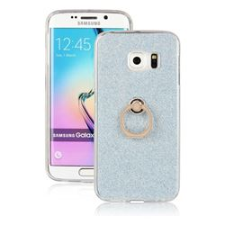 Luxury Soft TPU Glitter Back Ring Cover with 360 Rotate Finger Holder Buckle for Samsung Galaxy S6 Edge G925 - Blue