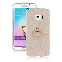 Luxury Soft TPU Glitter Back Ring Cover with 360 Rotate Finger Holder Buckle for Samsung Galaxy S6 Edge G925 - Golden