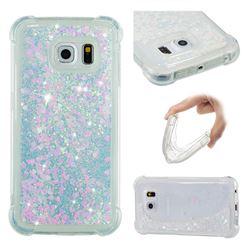 Dynamic Liquid Glitter Sand Quicksand Star TPU Case for Samsung Galaxy S6 Edge G925 - Pink