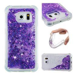 Dynamic Liquid Glitter Sand Quicksand Star TPU Case for Samsung Galaxy S6 Edge G925 - Purple