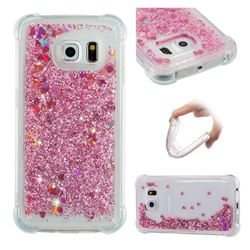 Dynamic Liquid Glitter Sand Quicksand Star TPU Case for Samsung Galaxy S6 Edge G925 - Diamond Rose