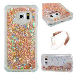 Dynamic Liquid Glitter Sand Quicksand Star TPU Case for Samsung Galaxy S6 Edge G925 - Diamond Gold