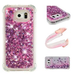Dynamic Liquid Glitter Sand Quicksand TPU Case for Samsung Galaxy S6 Edge G925 - Pink Love Heart
