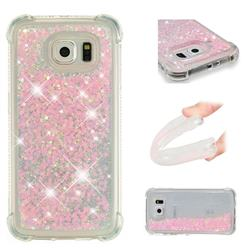 Dynamic Liquid Glitter Sand Quicksand TPU Case for Samsung Galaxy S6 Edge G925 - Silver Powder Star