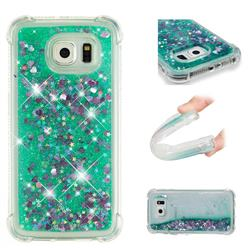 Dynamic Liquid Glitter Sand Quicksand TPU Case for Samsung Galaxy S6 Edge G925 - Green Love Heart