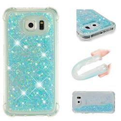 Dynamic Liquid Glitter Sand Quicksand TPU Case for Samsung Galaxy S6 Edge G925 - Silver Blue Star