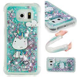Tiny Unicorn Dynamic Liquid Glitter Sand Quicksand Star TPU Case for Samsung Galaxy S6 Edge G925