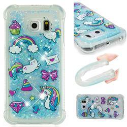 Fashion Unicorn Dynamic Liquid Glitter Sand Quicksand Star TPU Case for Samsung Galaxy S6 Edge G925