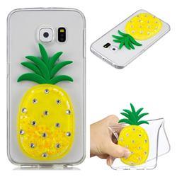 Yellow Pineapple Liquid Quicksand Soft 3D Cartoon Case for Samsung Galaxy S6 Edge G925