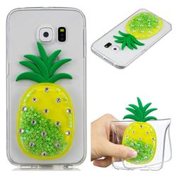 Green Pineapple Liquid Quicksand Soft 3D Cartoon Case for Samsung Galaxy S6 Edge G925
