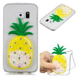 White Pineapple Liquid Quicksand Soft 3D Cartoon Case for Samsung Galaxy S6 Edge G925
