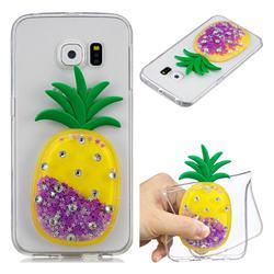 Purple Pineapple Liquid Quicksand Soft 3D Cartoon Case for Samsung Galaxy S6 Edge G925