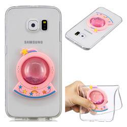 Spaceship Rainbow Liquid Quicksand Soft 3D Cartoon Case for Samsung Galaxy S6 Edge G925