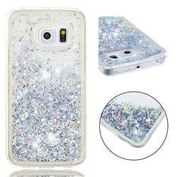 Dynamic Liquid Glitter Quicksand Sequins TPU Phone Case for Samsung Galaxy S6 Edge G925 - Silver