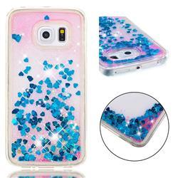 Dynamic Liquid Glitter Quicksand Sequins TPU Phone Case for Samsung Galaxy S6 Edge G925 - Blue
