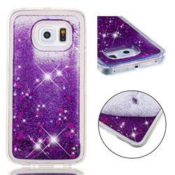 Dynamic Liquid Glitter Quicksand Sequins TPU Phone Case for Samsung Galaxy S6 Edge G925 - Purple