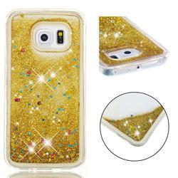 Dynamic Liquid Glitter Quicksand Sequins TPU Phone Case for Samsung Galaxy S6 Edge G925 - Golden