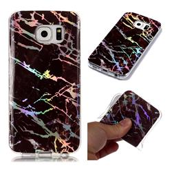 Black Brown Marble Pattern Bright Color Laser Soft TPU Case for Samsung Galaxy S6 Edge G925