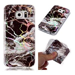 White Black Marble Pattern Bright Color Laser Soft TPU Case for Samsung Galaxy S6 Edge G925