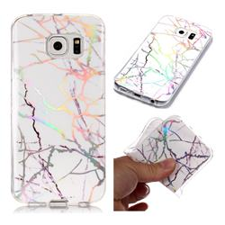 Color White Marble Pattern Bright Color Laser Soft TPU Case for Samsung Galaxy S6 Edge G925
