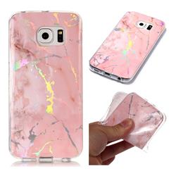 Powder Pink Marble Pattern Bright Color Laser Soft TPU Case for Samsung Galaxy S6 Edge G925