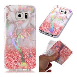 Powder Sandstone Marble Pattern Bright Color Laser Soft TPU Case for Samsung Galaxy S6 Edge G925