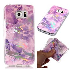 Purple Marble Pattern Bright Color Laser Soft TPU Case for Samsung Galaxy S6 Edge G925